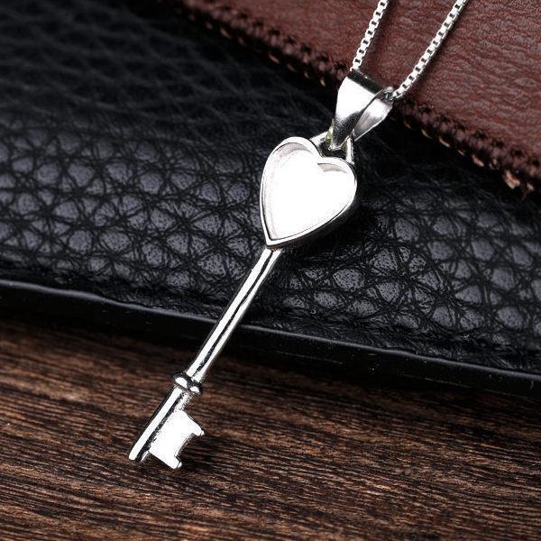 925 Clave de plata esterlina mujeres colgante semi montaje colgante de ámbar 6x7mmm corazón cabujón ágata lapislázuli bricolaje Piedra Ajuste