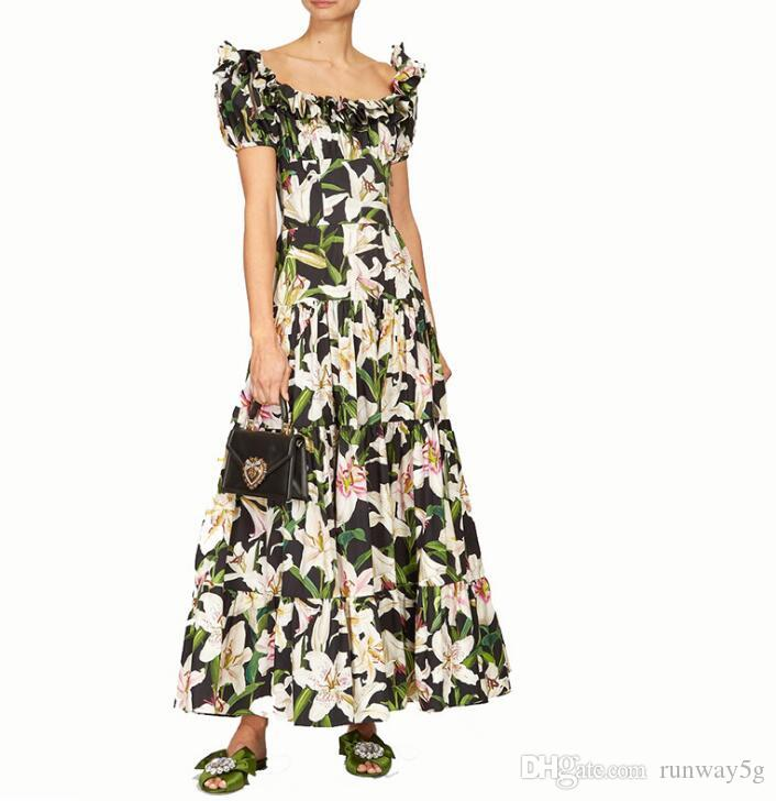 graduation season Holiday Hign-End Occident style runway Lace collar Short sleeves Panelled Print Floral Zipper dress