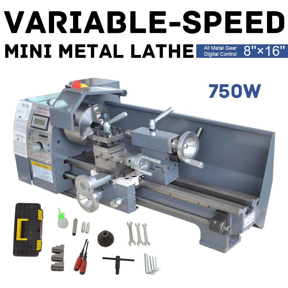 110V 220V 750W متغير سرعة معدنية صغيرة مخرطة مقعد مع شاشة رقمية لوحة النجارة المعدنية البسيطة المخرطة