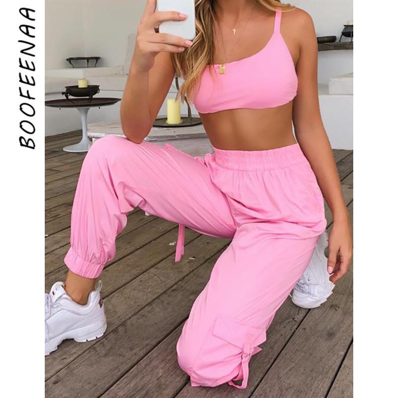 Boofeenaa الوردي مثير قطعتين مجموعة المحاصيل الأعلى و السراويل البضائع الدعاوى الشارع الشهير تراكسويت ملابس النساء الصيف مطابقة مجموعات C68ae64 Q190429