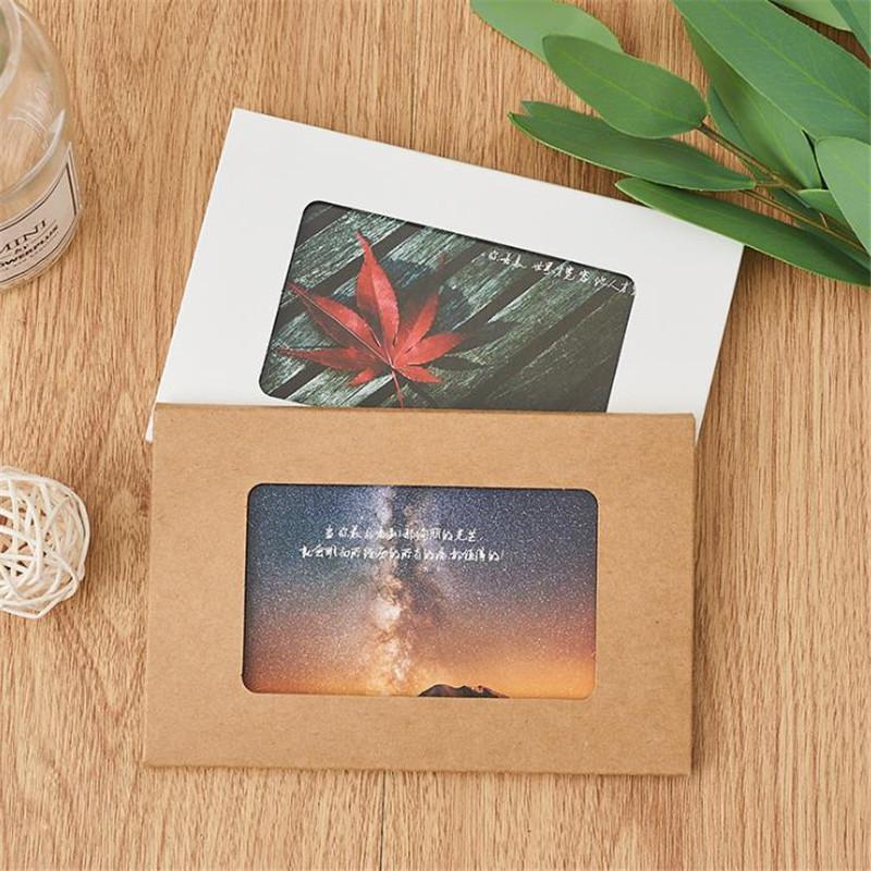 10pcs/lot Retro Kraft Paper Invitation Greeting Card With Window Postcard Box Blank Photo Box Wedding Party Invitation Envelopes
