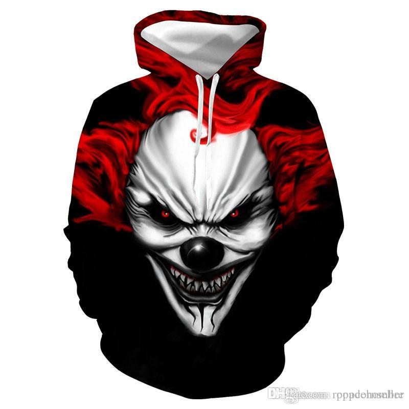 Halloween Mens Fashion Designer Hoodie New 3D Printed Evil Clown Print Loose Pullover Hoodie Casual Mens Clothing