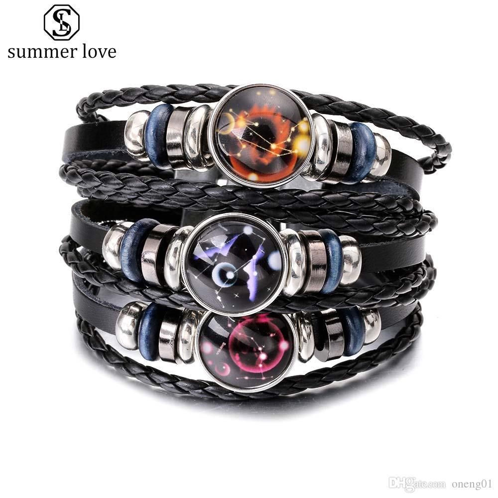 2019 Fashion 12 zodiac constellation mulitilayer leather bracelet for men handmade adjustable size black bracelet birthday jewelry gifts