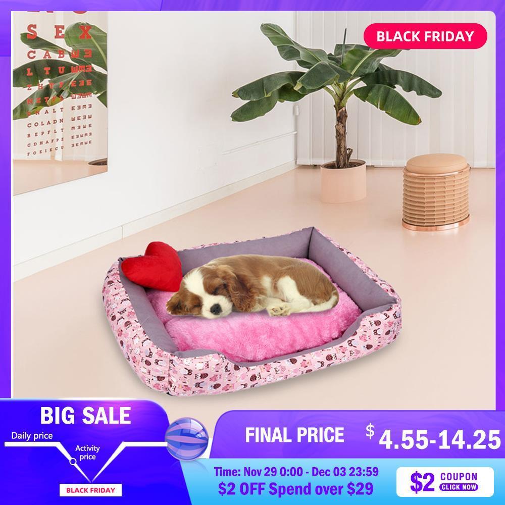 Kennel Dog Bed Mat Pet Dog Puppy Toison tapis peluche hiver lit en tissu imperméable Maison Nest Matelas pour Small Medium Large