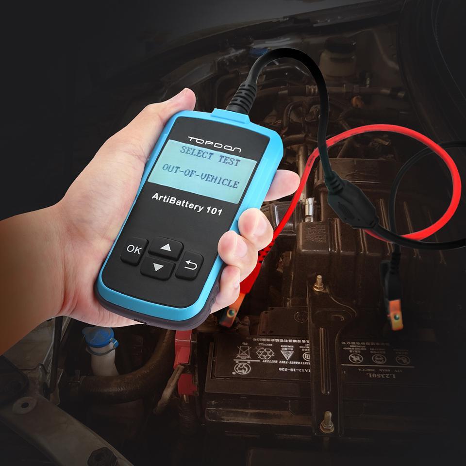 Comprobador de bater/ías de coche ArtiBattery101 de Topdon de 12/V y 100-2000/de corriente de arranque en fr/ío CCA carga y bater/ías Sistema para pruebas de arranque