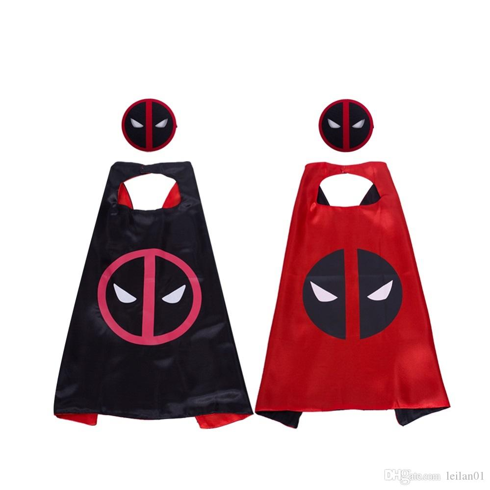 Deadpool costumes kids superhero cape with mask movie cartoon 27inch double layer masquerade Christmas Halloween birthday