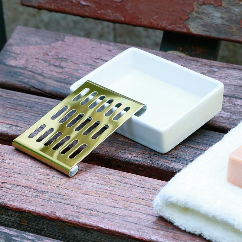 304 الفولاذ المقاوم للصدأ صحن السيراميك استنزاف مزدوج حامل الصابون الإبداعية الصندوق الاسود صابون الحمام الصابون مربع رف