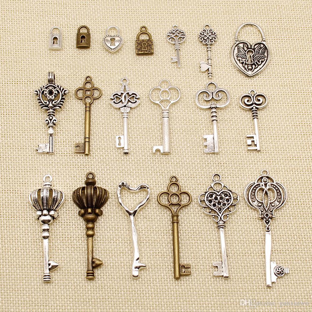 30 Piezas y accesorios de bricolaje para la joyería Inicio dominantes de la corona Amor Key Lock HJ134