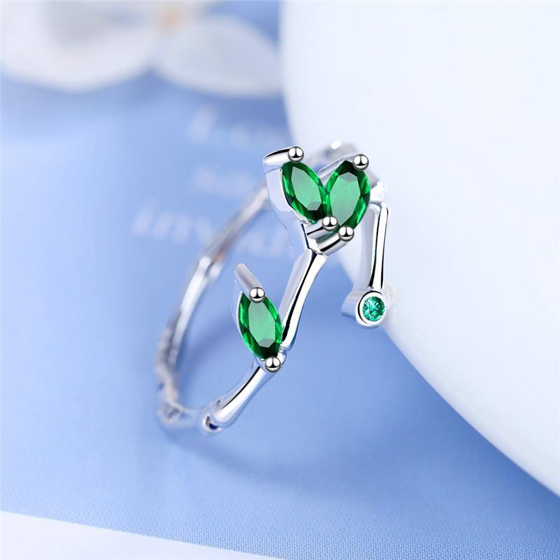 Trendy Feminino Verde Zircon anel ajustável de prata bonito da cor de pequenos anéis de casamento para as mulheres clássico nupcial Folha Anel de noivado