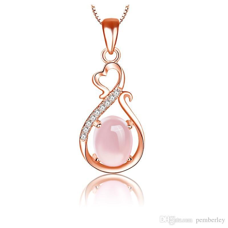 D196 Collane Ciondolo per donna Ragazza Moda cuore Collana lunga catena Cubic Zirconia Gioielli regalo rosa ellisse Collane