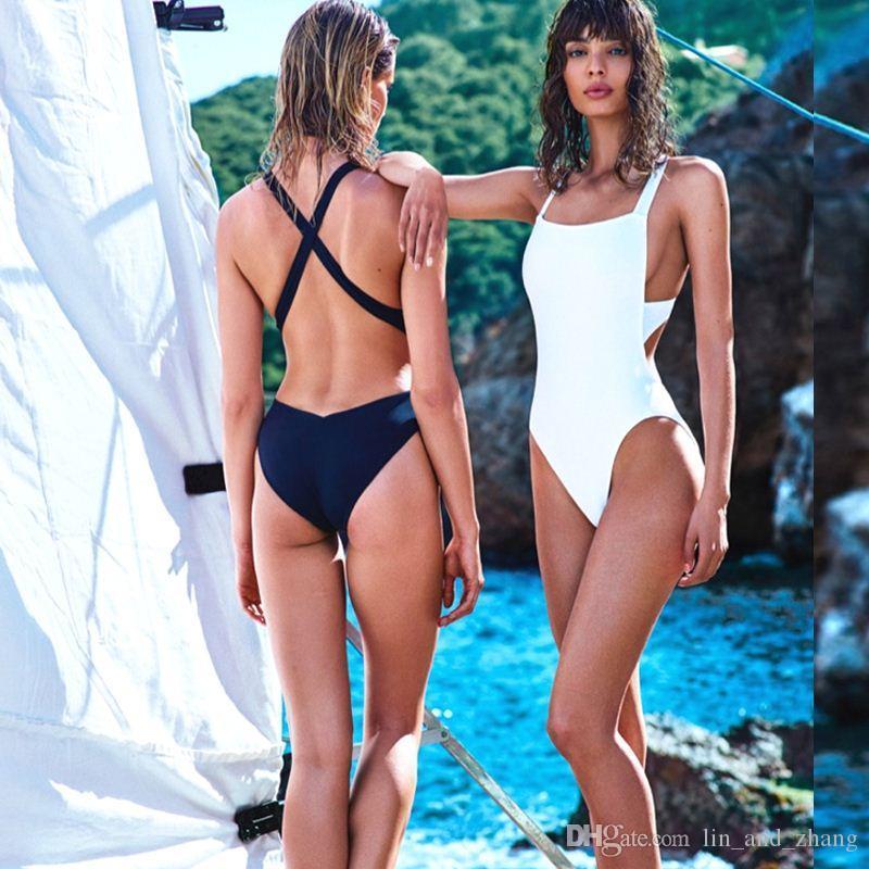 Sexy Trikini Badeanzüge Neue trikinis für Frauen neue Badebekleidung Cross Wrap Schwarz Weiß Bodysuits High Cut One Piece Badeanzug