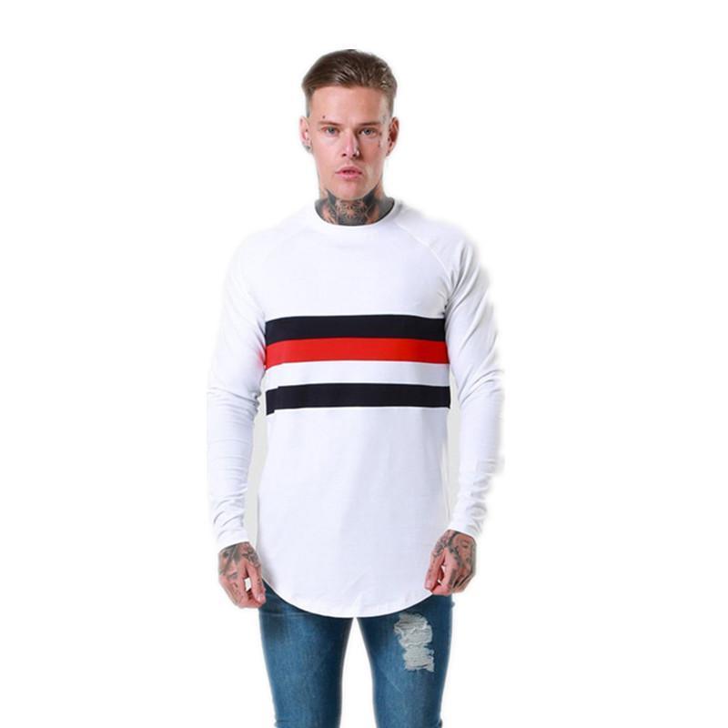 Primavera Marca Men Roupa 'S manga comprida em torno do pescoço T -Shirts Fashon aptidão Camiseta Raglan Tees Streetwear Plus Size M-2XL