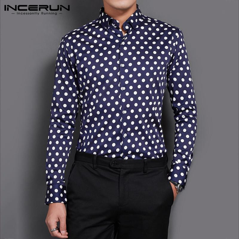 INCERUN 2020 Men Polka Dot Printed Shirt Long Sleeve Lapel Unitely Single Breased Business Trend Mens Bluce Masculina