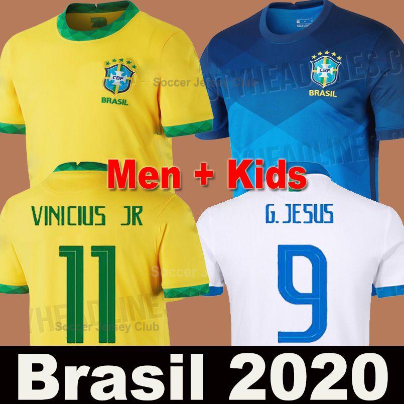 2020 Brasil camisa de futebol NEYMAR JR Brazil Copa América branco homens mulheres JESUS COUTINHO MARCELO FIRMINO goleiro soccer jersey football shirt de qualidade AAA