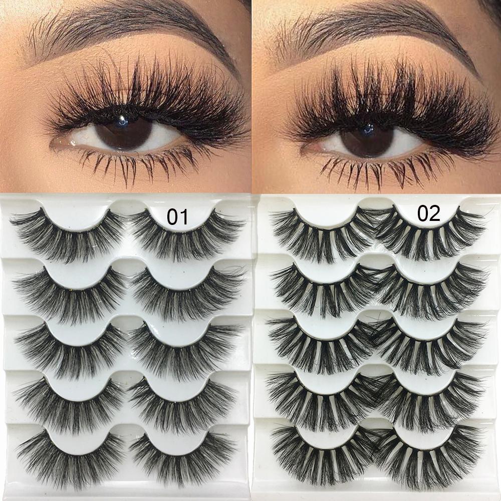 5 أزواج 3D فو المنك الشعر لينة الرموش الصناعية منفوش ناعم سميكة جلدة اليدوية لينة العين الطبيعية أدوات ماكياج التمديد