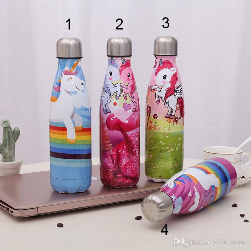 만화 콜라 병 진공 컵 (304) 스테인레스 스틸 스포츠 보온병 여행 물 병 야외 음료 용기 (8 개) 색상은 선택할 수 있습니다
