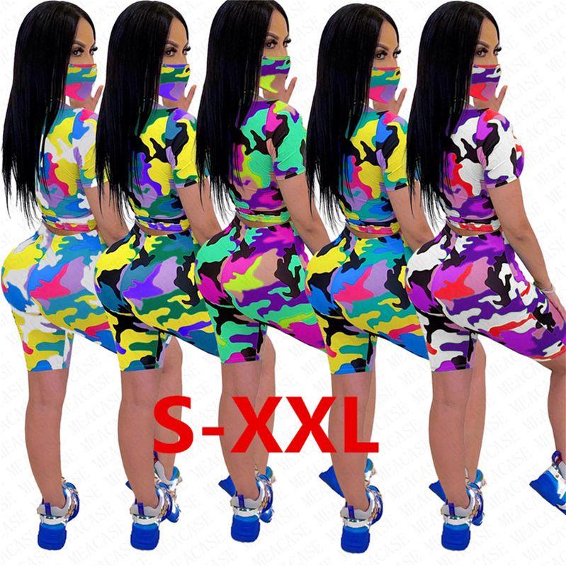 Kadınlar Eşofman Kamuflaj Kısa Kollu T Shirt Şort Yüz Maske üç parça bir takım kıyafetler Günlük Moda Ev Spor Suit D62915