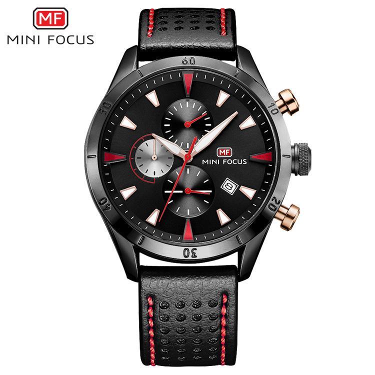MINIFOCUS Deluxe Mens Correa de cuero Negro Big Face Reloj de pulsera Reloj de pulsera Hombres Lujo Famoso Hombre Reloj de cuarzo Hombres Accesorios MF0011G