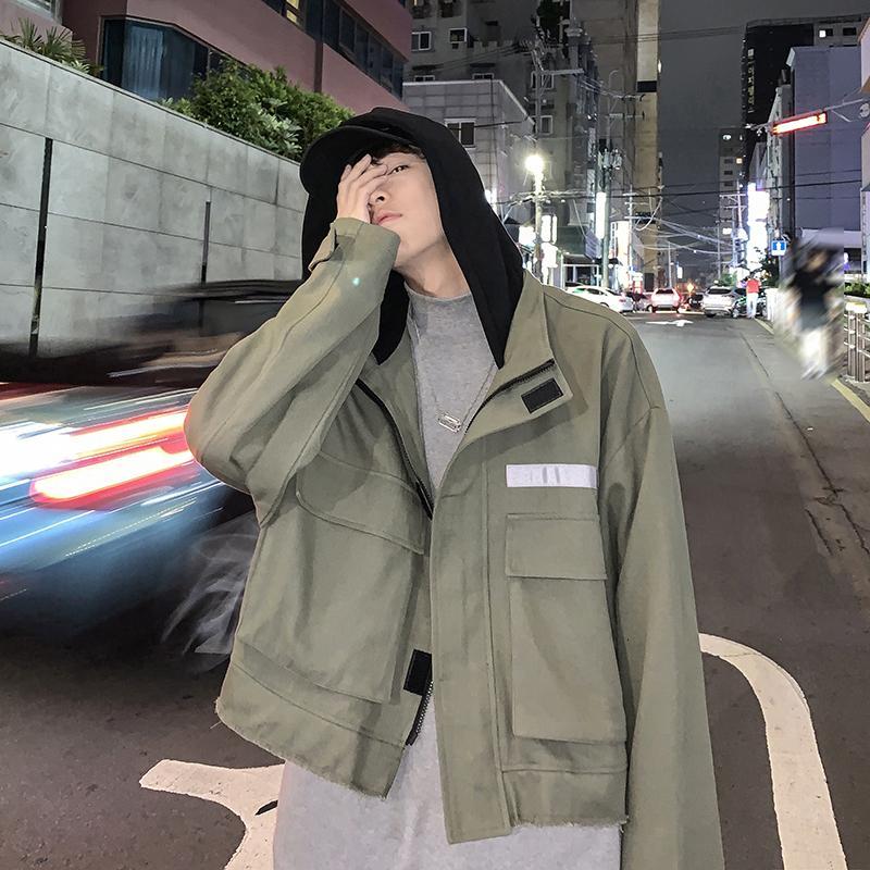 19 Autumn Nova Versão Coreana Do Vento Colégio Personalidade Casual Tooling solto costura de mangas compridas jaqueta com capuz