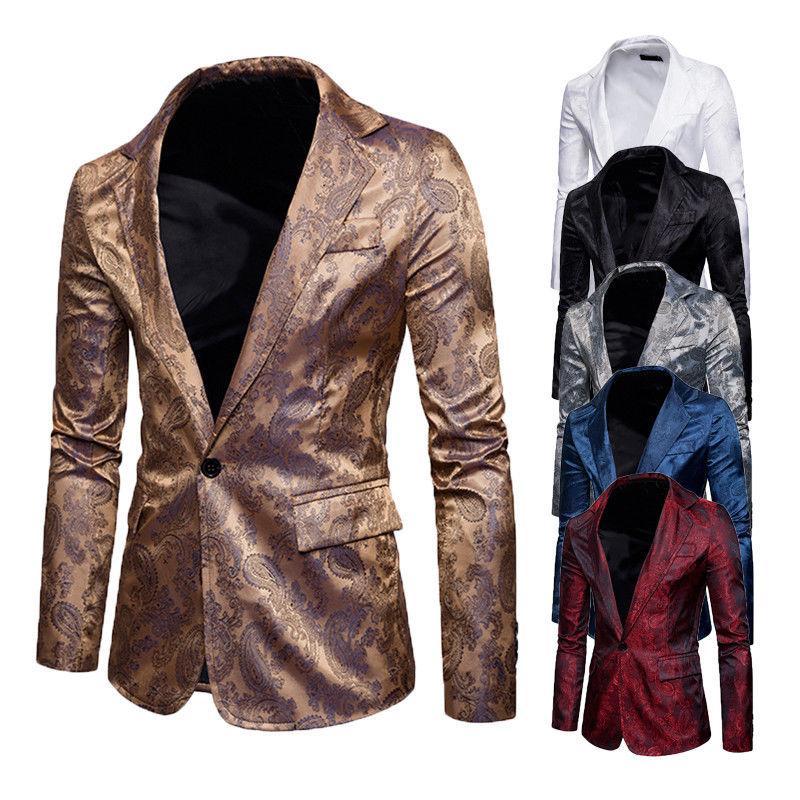 Homens Casual Slim Fit Elegante Inglaterra Estilo Blazer Formal One Button Suit Blazer revestimento do revestimento cobre S-XXL