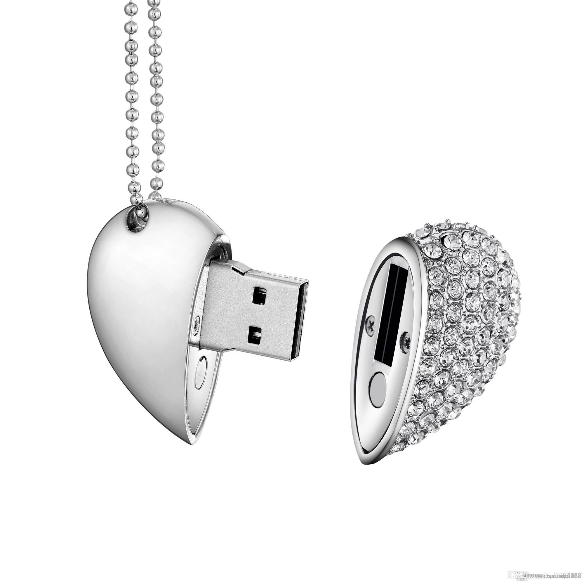 Nuevo diseño de la capacidad verdadera del USB Corazón de Cristal 2.0 Flash Drive Memory Stick 16 GB ~ 64 GB Pendrive con collar