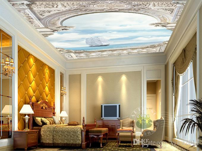 Moderna foto 3D WallpaperWhite Palace archi mare vela paesaggio Wall Papers Home Interior Decor Living Room Soffitto Lobby Murale Wallpaper