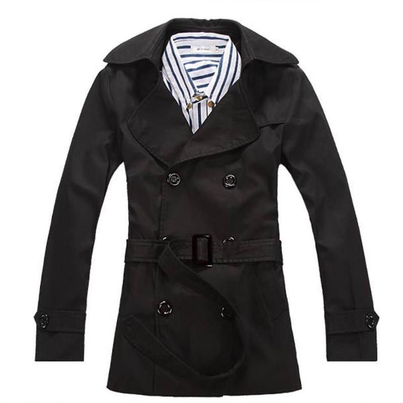 Men Trench Windbreaker Double-breasted European Style Slim Solid Fashion Trench Coats Hombre Overcoat Jackets Masculino