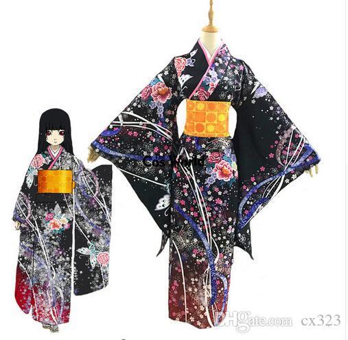Jigoku Shoujo Enma Ai Kimono Yukata Hizmetçi Elbise Kıyafet Üniforma Anime Cosplay Kostümleri