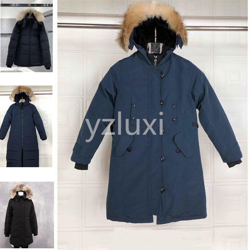 piumino delle donne Giù parka reale Raccoon collo di pelliccia bianco anatra Outerwear Coats donne del cappotto di modo