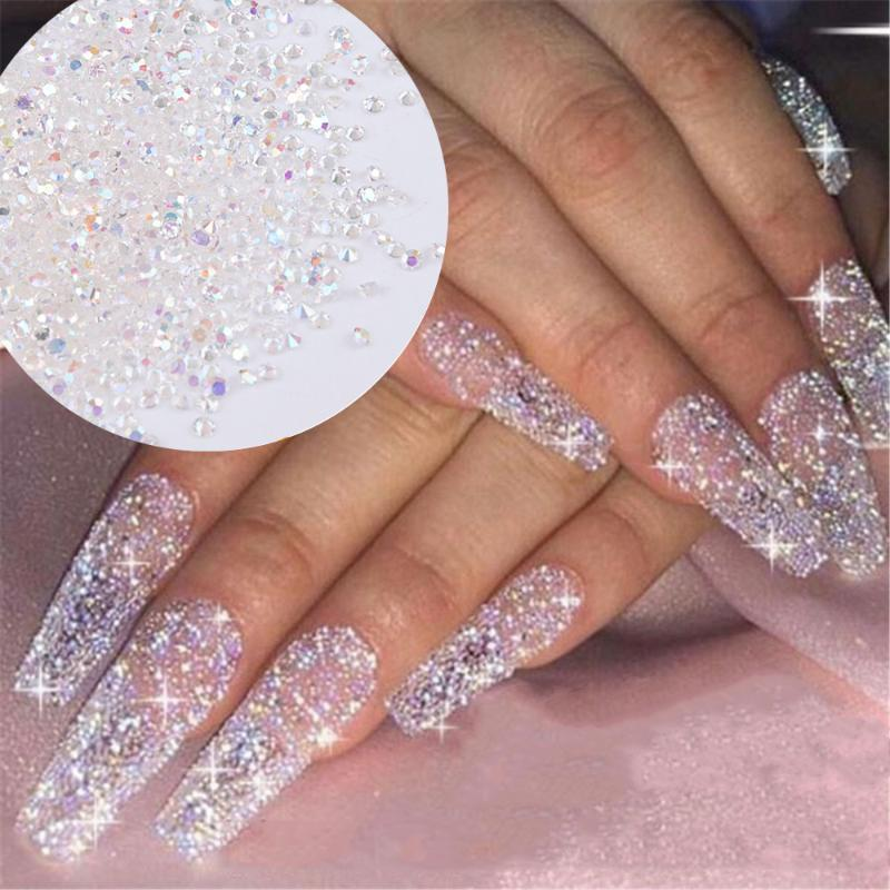 1440pcs/pack AB Flatback Crystal 1.1mm 1.2mm 3D Micro Nail Rhinestone Glass DIY Gems Glitter Nail Art Decorations Mini Beads