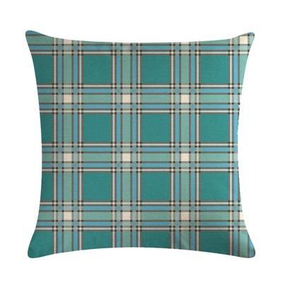 Teal Plaid Linen Plain Cushion Cover for Sofa Home Decoration Pillowcase 18/'/'