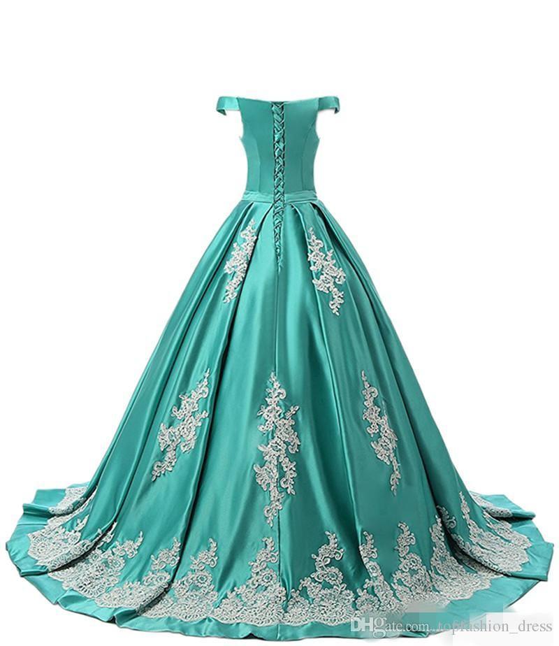 Zarif Hunter Yeşil Kapalı Omuz Quinceanera Elbiseler Aplike Sweep Tren Lace Up Geri Custom Made Tatlı 16 Mezuniyet Balo