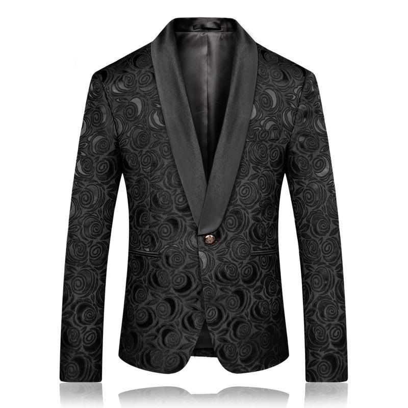 2020 Mens Fashion Black Jacquard Rose Blazer Slim Fit Suit Jacket