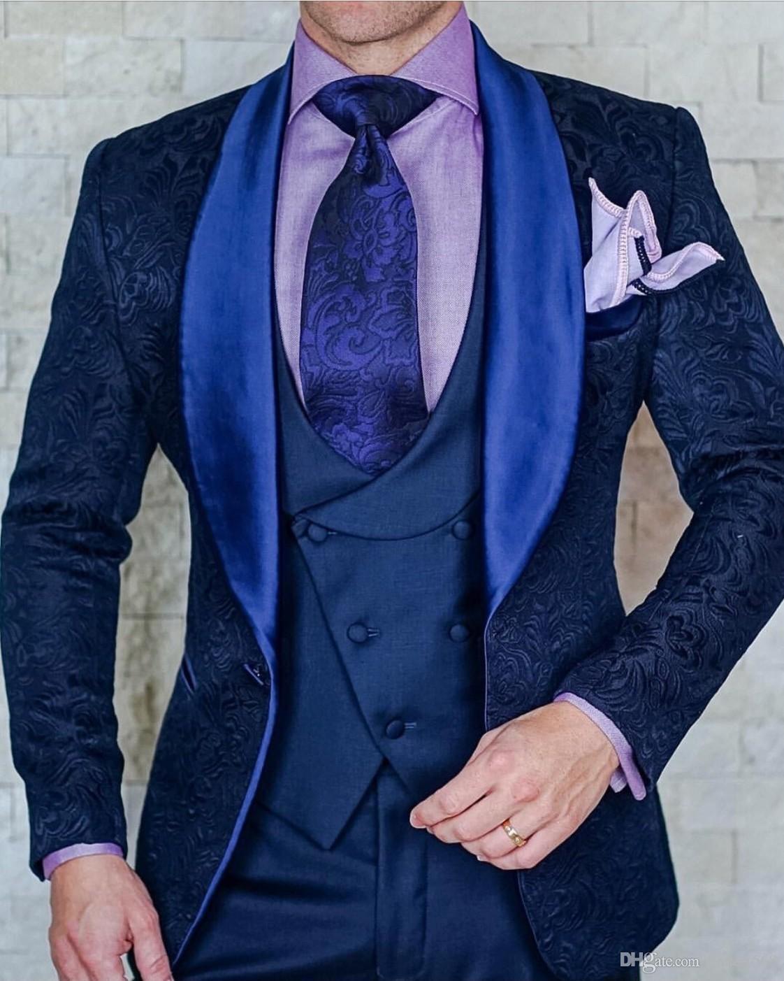 Bonito Gravando Padrinhos Xaile Lapela Do Noivo Smoking Ternos Dos Homens de Casamento / Baile / Jantar Melhor Homem Blazer (Jacket + Pants + Tie + Vest) 162