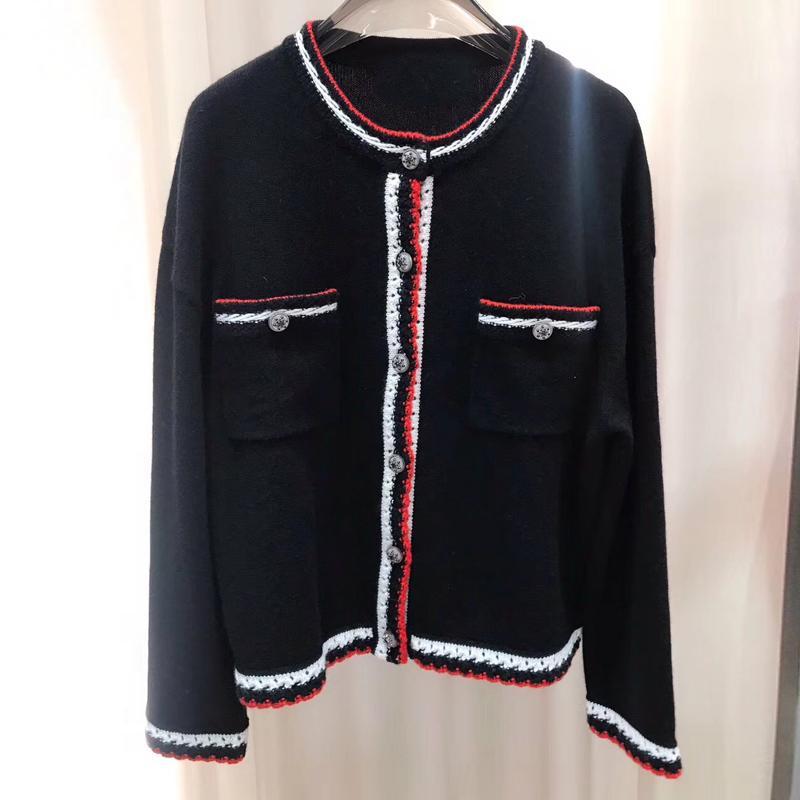 Malha Cardigan Mulheres Alta Qualidade Cashmere Feminino Cardigans Preto Mulheres Tops Primavera Outono