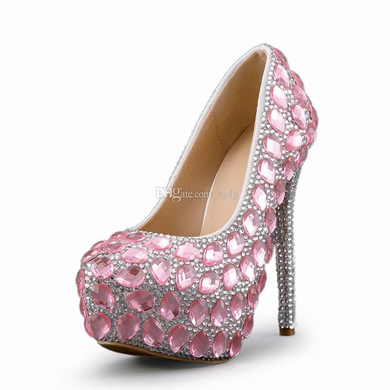 Rosa scarpe di cristallo nuziale strass abito da sposa Scarpe Diamante tacco a spillo Big Small Size 33 34 45 Colore personale ordine o