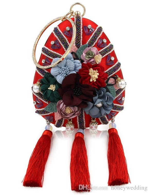New 2019 Wasser-Tropfen-Abendessen-Beutel-Blumen-Korn-Handtaschen Hochwertige Perle Eingefügt Drill-Quaste-Abend-Kleid Frauen-Bag China Red