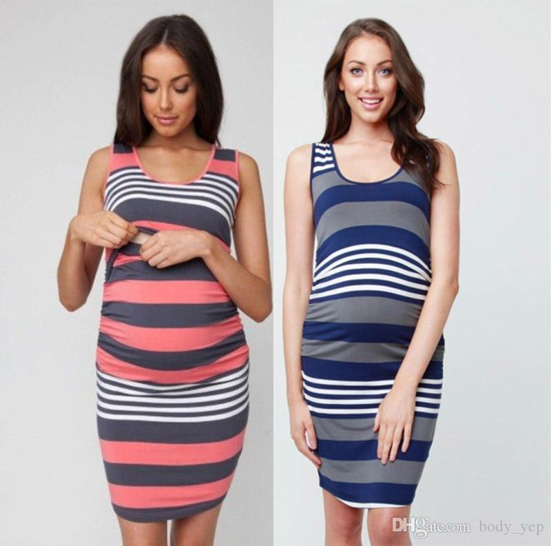 Maternity Striped Dresses Vest Clothing Pregnant Nursing Mother Dress Breastfeeding Clothing Bodycon Dress Women Dress Stripe