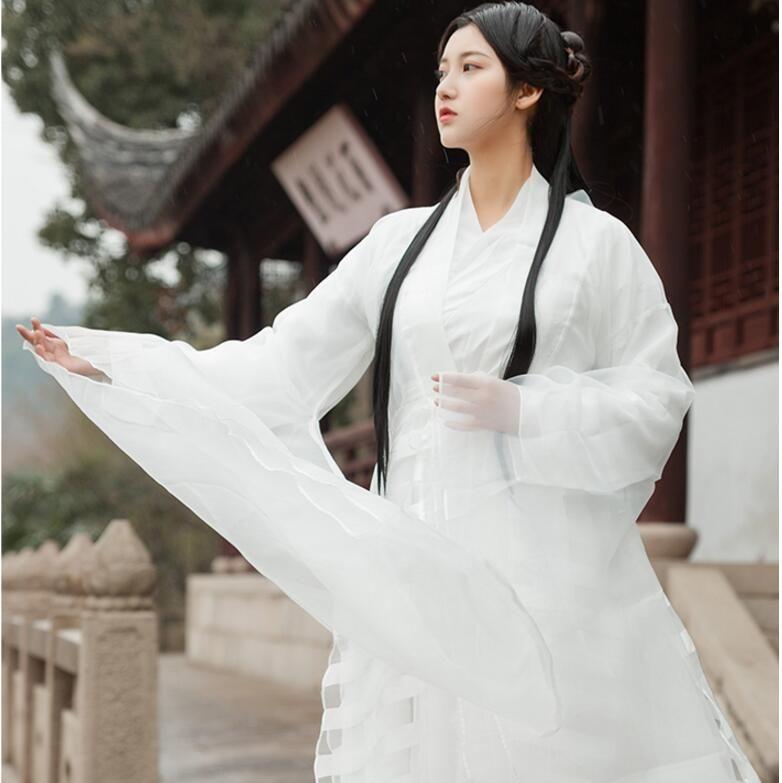 Свежие элегантные восточные старинные платья мелкий белый Ханфу костюм азиатский фильм ТВ аналогичный пункт китайское платье фильм драма одежда белый