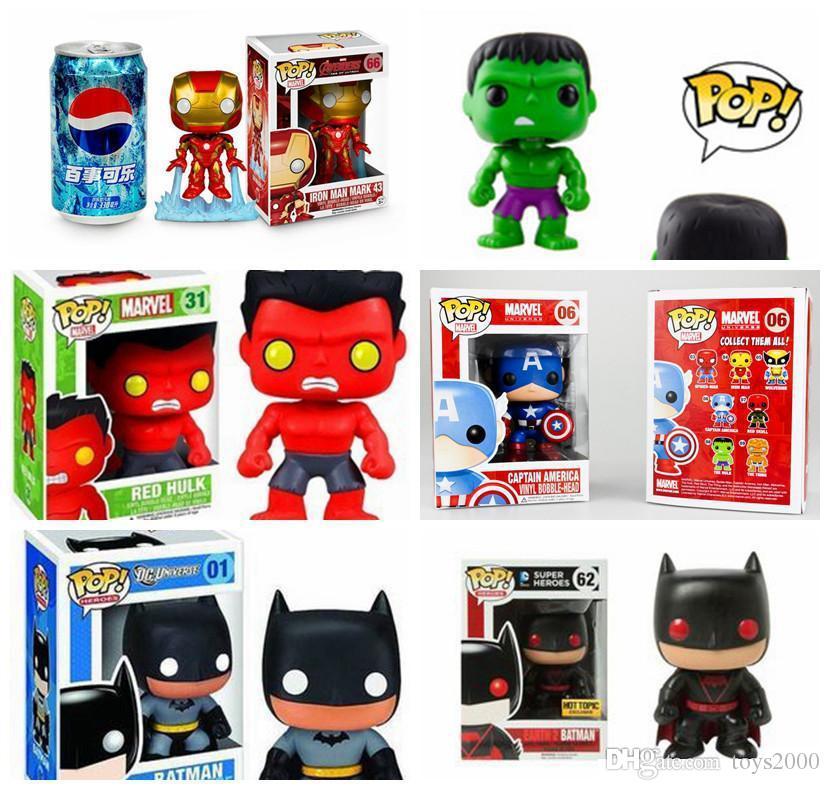 원래 상자 좋은 품질 도비 인형 장난감 Funko POP 어벤져 영화 헐크 캡틴 아메리카 배트맨 토르 아이언 맨 액션 피겨