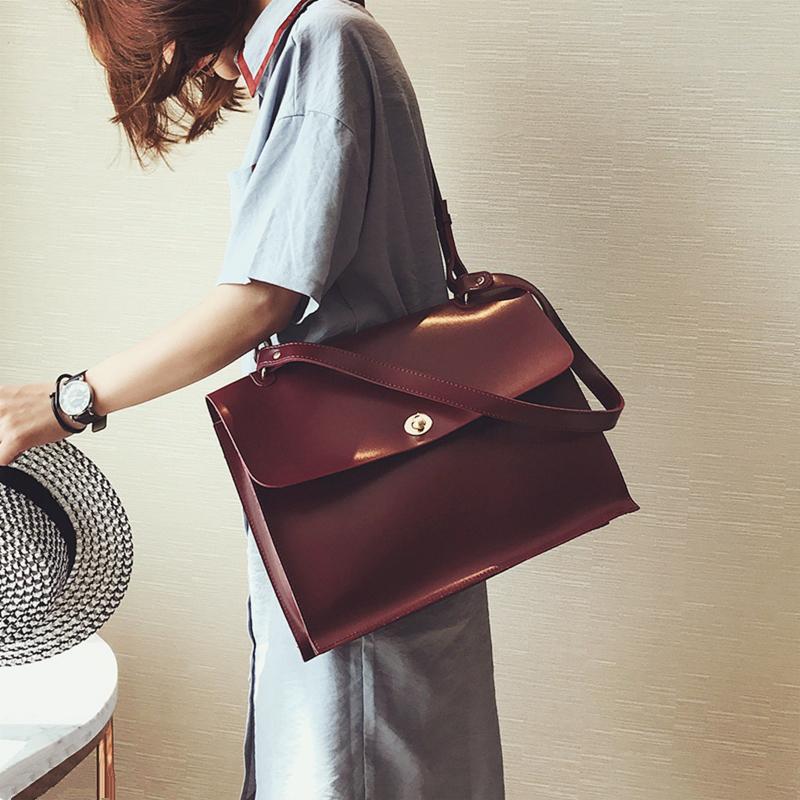 Retro Moda Feminina Big Bag 2018 New Qualidade PU Designer de couro das mulheres bolsa das senhoras Pasta Bolsa de ombro Messenger Bags CJ191217