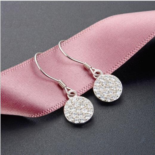 Toptan basit S925 gümüş dolu elmas yuvarlak küpe küpe küçük taze bayanlar jewelry399