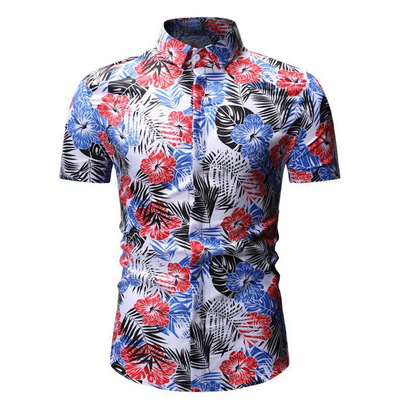 Laamei Mens Summer Beach Hawaiian Shirt 2019  Short Sleeve Plus Size Floral Shirts Casual Holiday Vacation Clothing Camisas