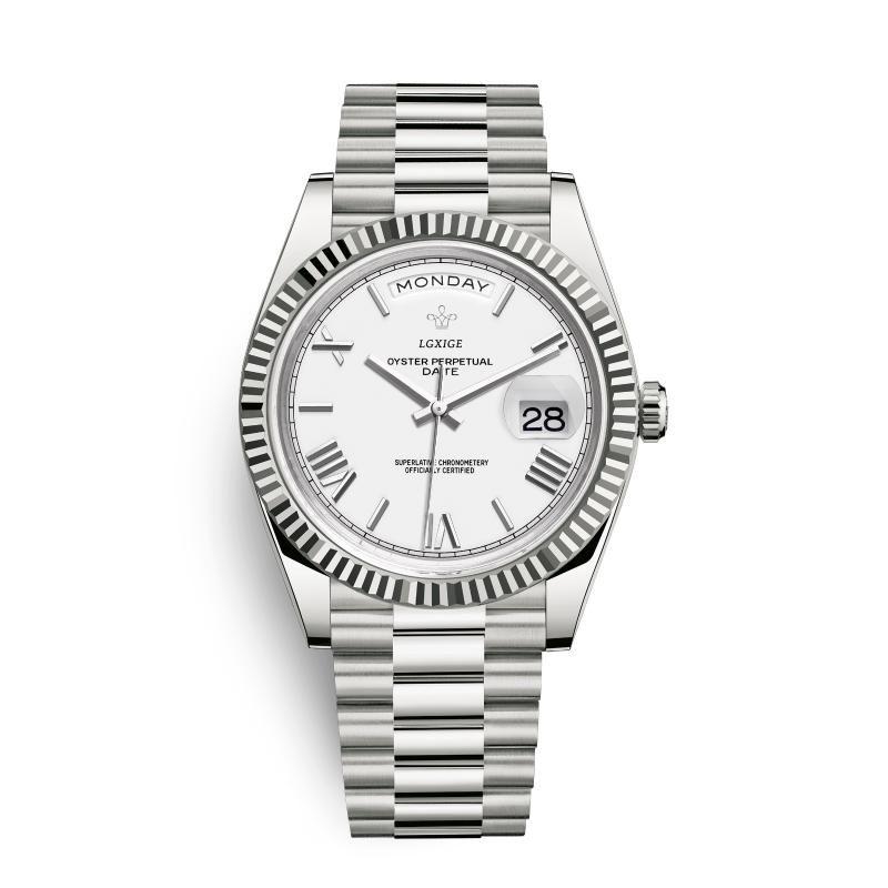 Водонепроницаемый позжечный день бизнес мужские наручные часы 40 мм римский цифровой цифровой набор оригинальные часы LGXIGE