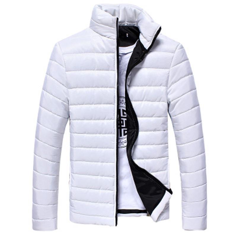 capa de los hombres de moda hombres de los muchachos caliente del collar del soporte delgado de la capa del invierno chaqueta con cremallera Outwear la moda casual de invierno para hombre de las chaquetas