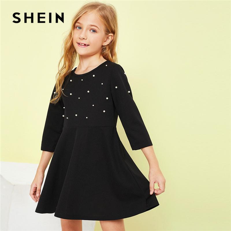 Shein Kiddie Siyah Katı Kızlar İnci Boncuk Flare Günlük Elbise Çocuk Giyim 2019 İlkbahar Moda A Hattı Sevimli Kısa Elbise