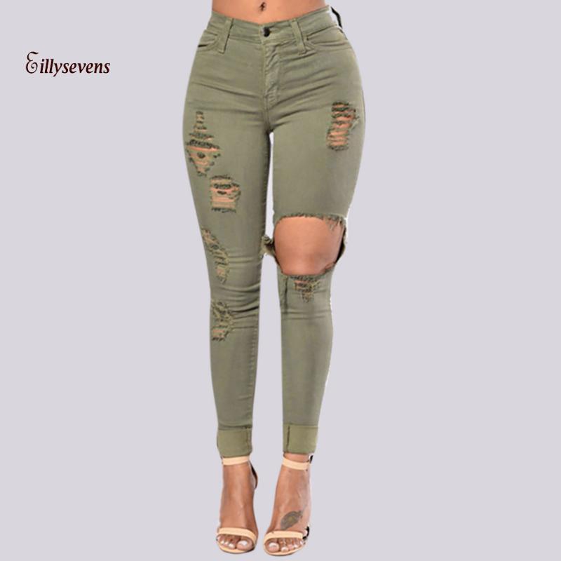 Yüksek Bel Kot Büyük Delik Kadın Pantolon 2020 Bahar Sümer Elastik Seksi Sıkı Skinny Jeans Kızlar Ince Kalem Pantolon Ripped Denim