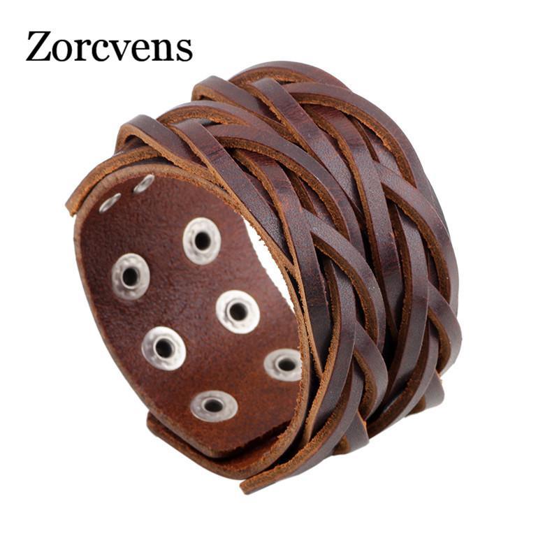 ZORCVENS Черный Коричневый натуральная кожа браслет с пряжкой сплава Регулируемый моды Женщины Мужчины Браслеты ювелирные изделия