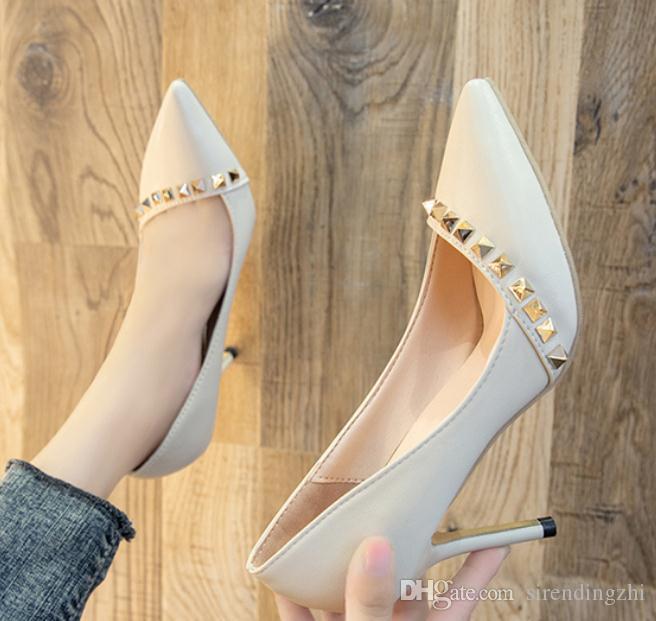 2020 zapatos de mujer en primavera y otoño con nuevo estilo del tacón alto talón fino extremo puntiagudo @ 7116