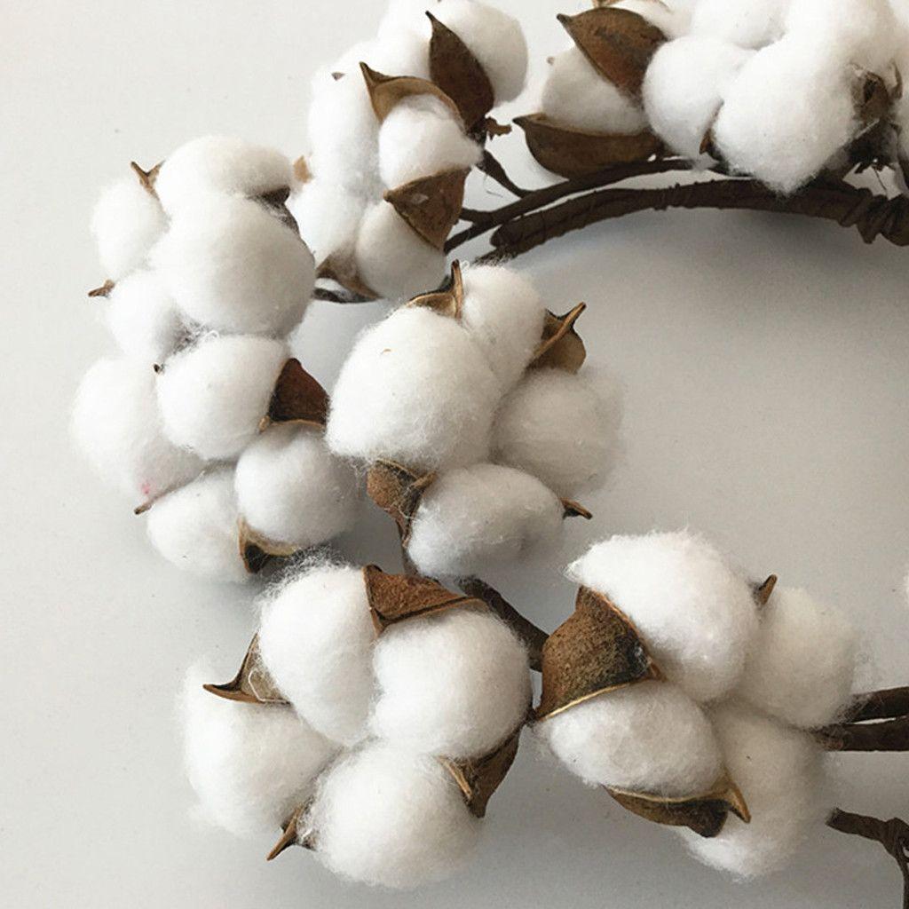coton simulation de fleurs séchées main guirlande Potences coton Couronne avec pleine de coton blanc avant mur Porte de mariage Décor # LR3